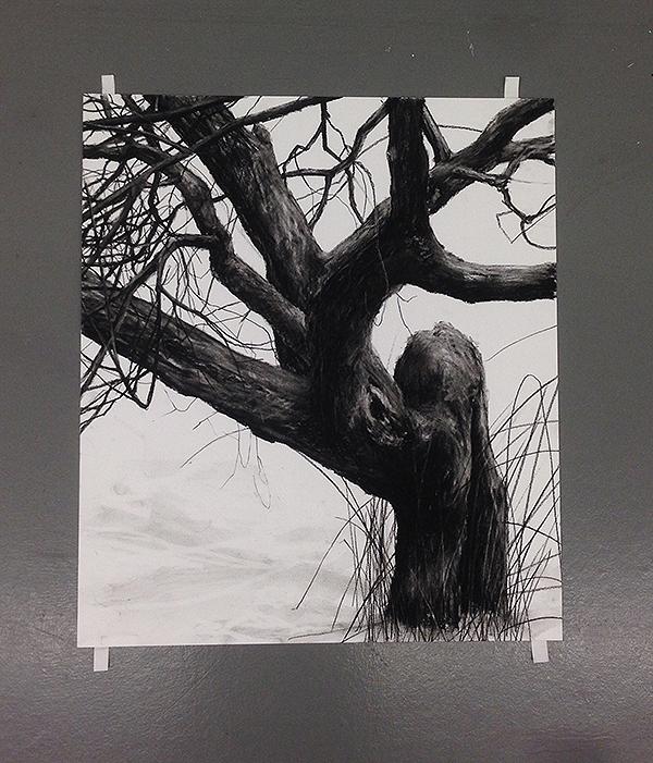 Teckning som föreställer ett gammalt träd. Konstnär Patrick Nilsson.